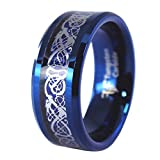 Fantasy Forge Jewelry Blue Tungsten Carbon Fiber Viking Dragon Celtic Knot Ring Wedding Band Size 8-12