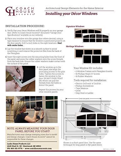Coach House Accents Signature Décor Simulated Garage Door Window (2 Windows per kit) - Sandstone - Model AP144199