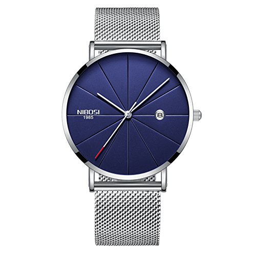 Mens Womens Watches Ultra-Thin Analog Quartz Fashion Waterproof Watch with Date Function with Milanese Mesh Band (Silver Band Blue Dial)