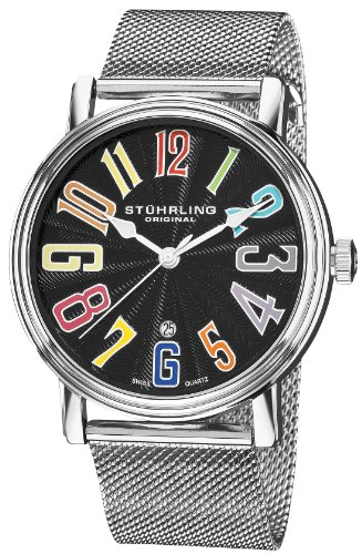 Stuhrling Original Men's 301M.331169 Roulette Elite Swiss Quartz Date Black Dial Mesh Watch