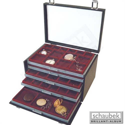 Schaubek Numismatik Münzkollektion Koffer für für für Taschenuhren, schwarz K780 15bb97