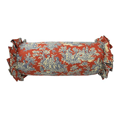 Waverly 14924007X022HTB Sanctuary Rose 7-Inch by 22-Inch Neckroll Decorative Pillow, Heritage Blue ()