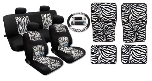 Exclusive Fur Print on Black Mesh - White Zebra Accent Front Pair Bench Steering Wheel Shoulder Pads Matching White Zebra 4pc Floor Mats For Liberty