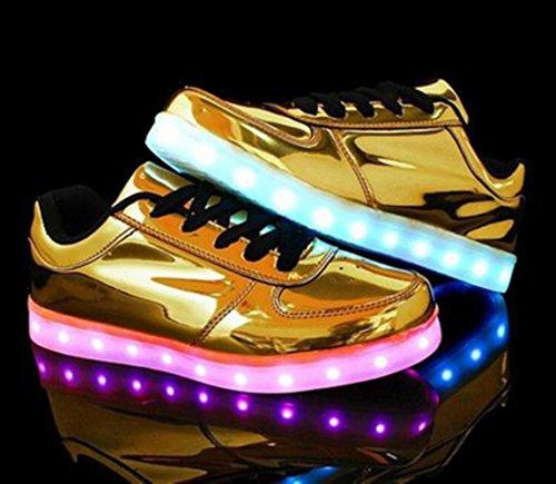 [Present:kleines Handtuch]JUNGLEST® 7 Farben LED Leuchtend Aufladen USB Aufladen Sport Schuhe Paare Schuhe Herbst und Winter Sport Schuhe Freizeitschuhe Leucht Laufende Unise Goldene