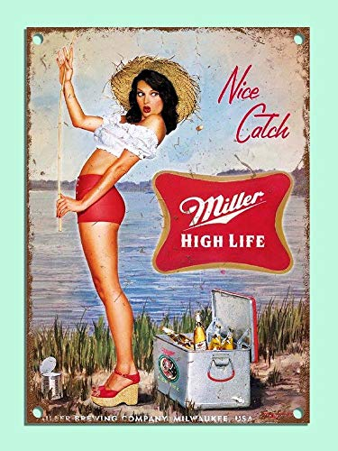 """PotteLove Metal Signs Retro Style Miller Beer Girl Fishing Bar Den Tin Wall Plaques Gifts Novelty Aluminum Tin Signs 8""""X12"""""""