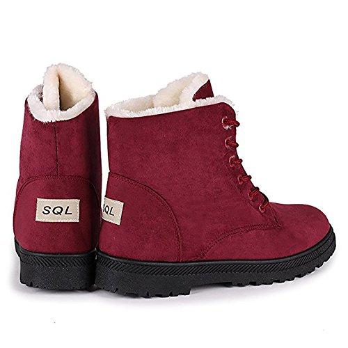 Rojo caliente esquí nieve para LS mujer plataforma zapatos Zapatillas piel de de de botas Wicky SCF1wq1