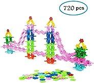 QUN XING STEM Toys Building Blocks Educational Toys 720 Pieces Construction Interlocking Plastic Flake Disc Se