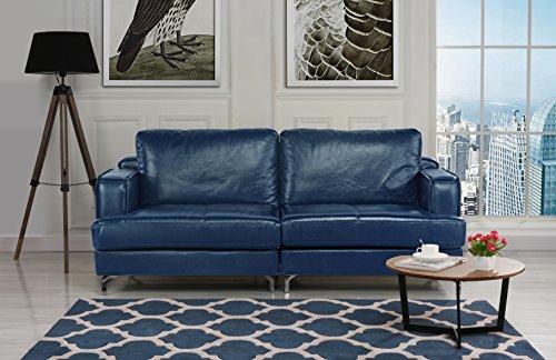 Ultra Modern Plush Leather Living Room Sofa (Blue) -
