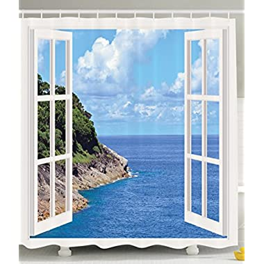 Decor for Bathroom Tropical Island Mountain Ocean Theme Wooden Window Panorama with Scenic View Shower Curtain Decoration Ideas Nature Prints and Pictures Scenery, Blue Navy White Green Taupe