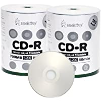 Smart Buy CD-R 200 Pack 700mb 52x Printable Silver Inkjet Blank Recordable Discs, 200 Disc, 200pk