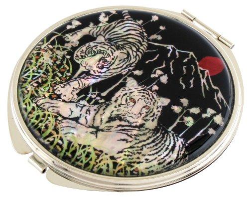 Mother of Pearl Makeup Mirror White Tiger Design Cosmetic Mirror Handbag Purse -