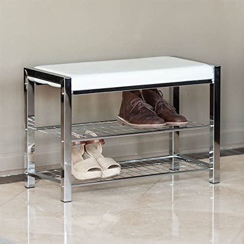 Danya B. HA16832 White Leatherette Entryway Shoe Storage Organizer Rack and Bench with Chrome Frame