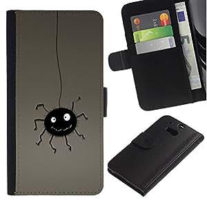 Planetar® Modelo colorido cuero carpeta tirón caso cubierta piel Holster Funda protección Para HTC One M8 ( Araña Negro lindo colgante de la historieta del dibujo del arte )