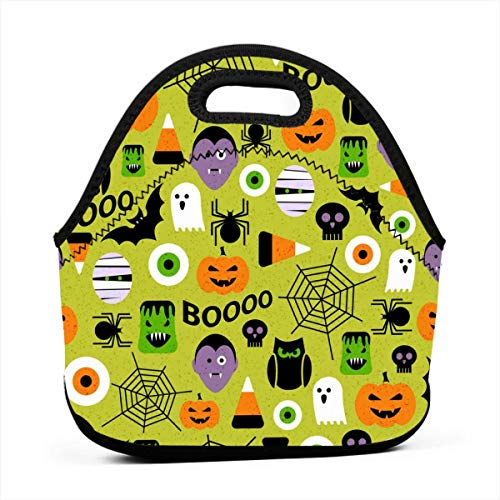 Happy Halloween Party Patterns Thermal Neoprene Kids Insulated Lunch Portable Carry Tote Picnic Storage Bag Lunch Box Food Bag Gourmet Handbag Cooler Warm Pouch Tote Bag for School Work Office -