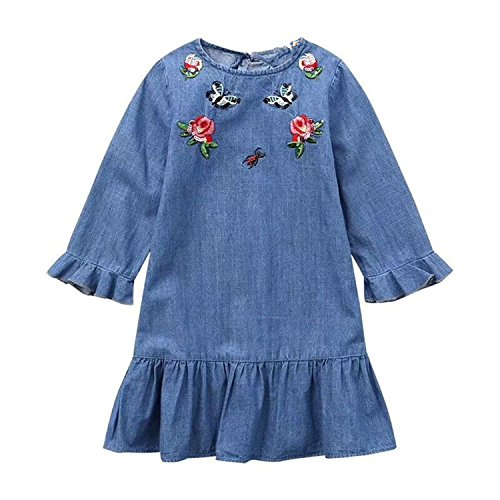 Doris Batchelor Elegant Spring Girls Denim Princess Dress Embroidery Floral Ruffle Sleeve Teenager Kids Party Dresses Blue 4T