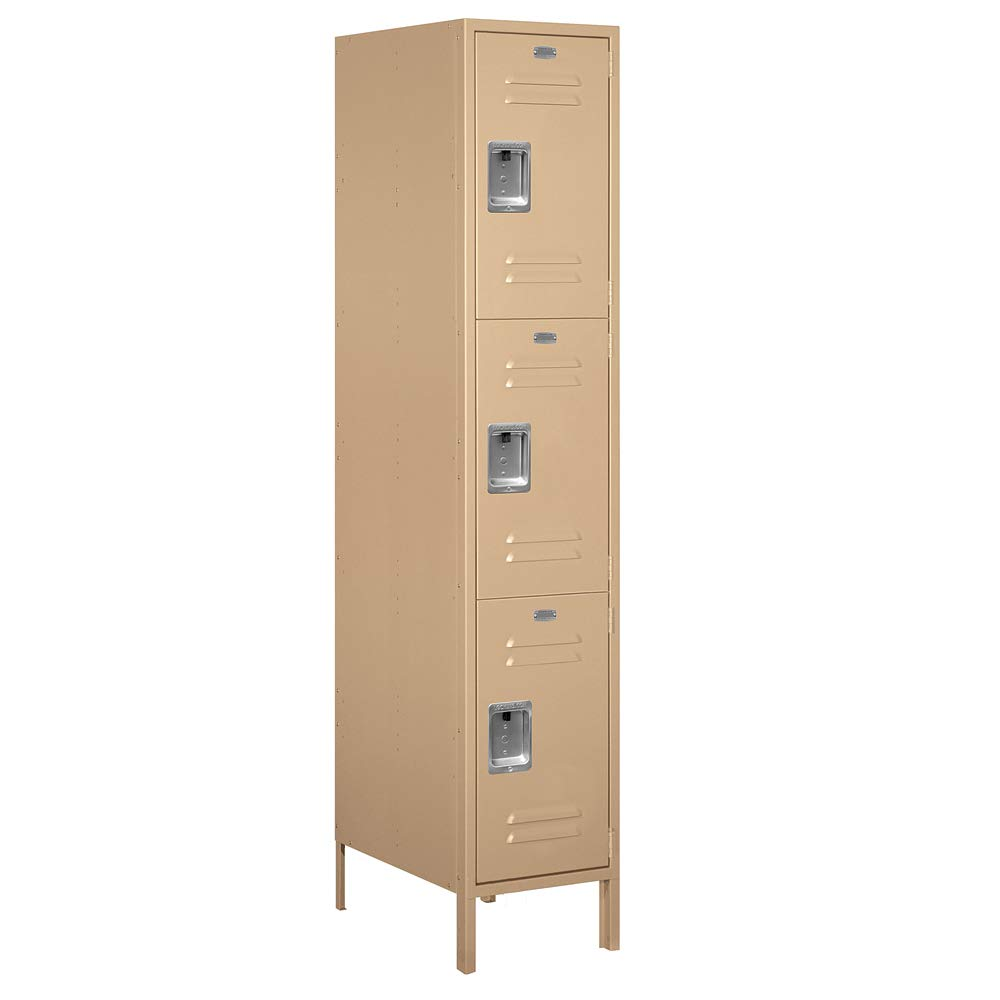 Salsbury Industries 18-53161TN-A 18'' Triple Tier Standard, 1 Wide x 6 Feet High x 21 Inches Deep, Assembled Metal Locker Tan