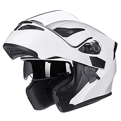 ILM Motorcycle Dual Visor Flip up Modular Full Face Helmet DOT with LED Lights (M, WHITE - LED)