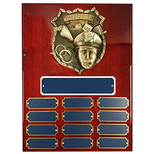 Customizable 9 x 12 Inch Perpetual Piano Cherry Finish Plaque with Brass Police Shield, includes Personalization