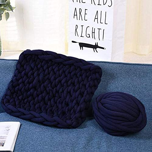 Navy Blue Braid Cotton Chunky Arm Knitting Blanket,59''x71'' Super Chunky Blanket,Giant Knit Blanket,Thick Hand Blanket Friend Family Gift by FAU-Hand Knit Blanket (Image #1)