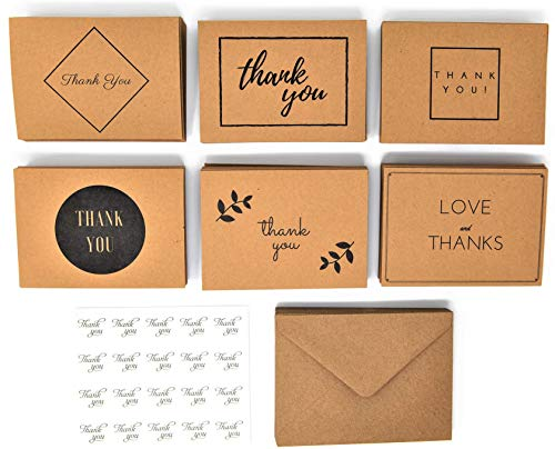 Best 120 Thank You Cards- Bulk Thank U Greeting Card Set, Blank Notes for Wedding, Graduation, Funeral, Bridal and Baby Shower, Premium Kraft Paper with Extra- Sticky Envelopes and Stickers