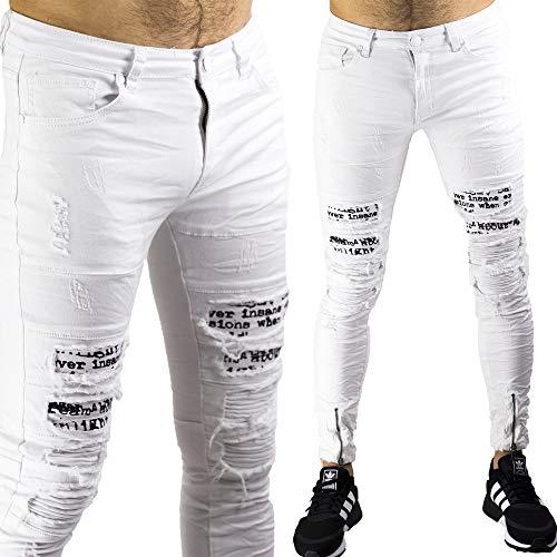 Caviglie Elasticizzati Slim Bianco Uomo Bianchi Jeans Slimfit Pantaloni Alle Toppe Strappati Zip pXFqPpwx