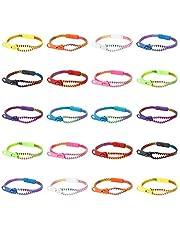 20 pulseras de la amistad arcoíris con cierre, juguetes a granel para cumpleaños infantiles