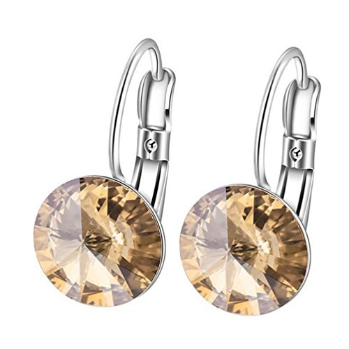 Womens Swarovski Crystal Leverback Earrings 10mm Dangle Earrings Champange DSP03