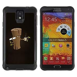 Be-Star único patrón Impacto Shock - Absorción y Anti-Arañazos Funda Carcasa Case Bumper Para SAMSUNG Galaxy Note 3 III / N9000 / N9005 ( Funny Grumpy Morning Wood )