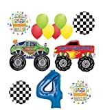 Mayflower Products Monster Truck Party Supplies 4th Birthday Balloon Bouquet Decorations