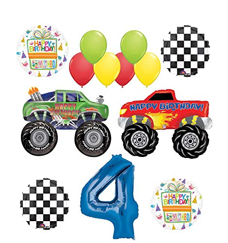 Mayflower Products Monster Truck Party Supplies 4th Birthday Balloon Bouquet Decorations]()