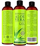 BEST Aloe Vera Gel - 99% Organic, 12oz - NO XANTHAN, Absorbs Rapidly, No Residue - USA made - SEE RESULTS OR MONEY-BACK - Unique Formula with natural SEAWEED. Best Moisturizer for Face, Skin & Hair.
