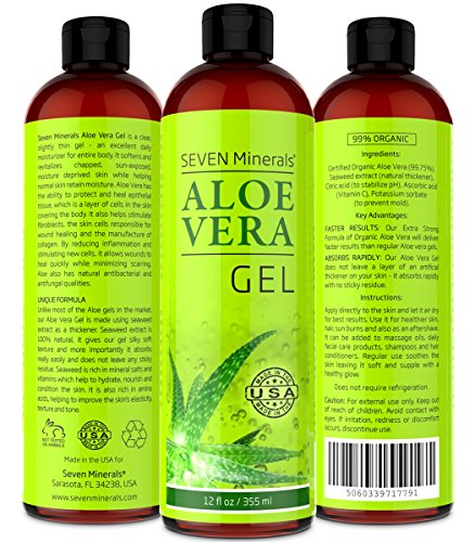 Aloe Vera GEL - 99% Organic, 12 oz  - NO XANTHAN, so it Absorbs Rapidly with No Sticky Residue - SEE RESULTS OR - Miracle Fruit Plus