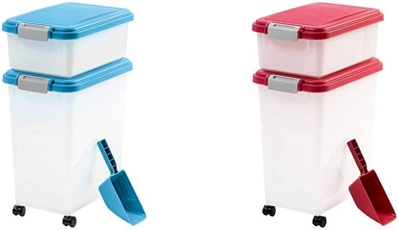 IRIS 3Piece Airtight Pet Food Container Combo, Blue with IRIS 3Piece Airtight Pet Food Container Combo, Red