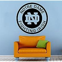 "Notre Dame Logo Wall Vinyl Decal Sticker Fighting Irish NCAA College Football Sport Home Interior Removable Decor (22""high X 22""wide)"