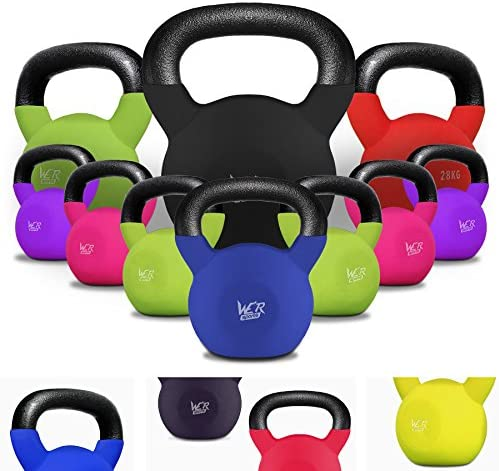 Covered Cast Iron Home Gym Exercise Colour Coded Weights JLL/® Neoprene Covered Kettlebells 2kg-24kg Fitness Weight Training