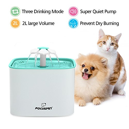 Cat Fountain, FOCUSPET 2L Pet Flower Fountain Automatic Electric Pet Water Dispenser, Pet Health Caring Fountain for Cat and Small Dog/Animals