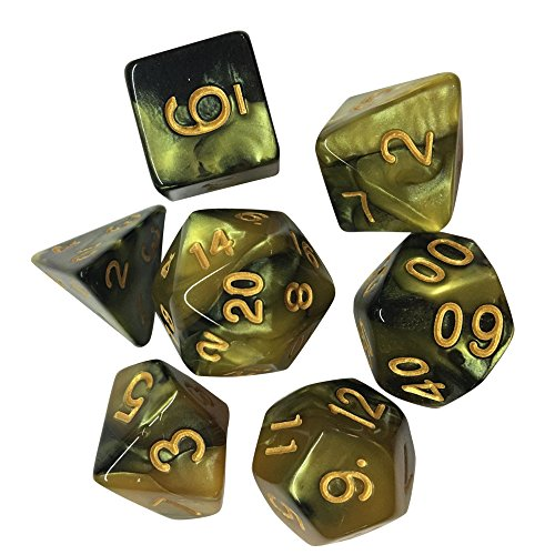 Clearance Sale!UMFun 7pcs/Set TRPG Game Dungeons & Dragons Polyhedral D4-D20 Multi Sided Acrylic -