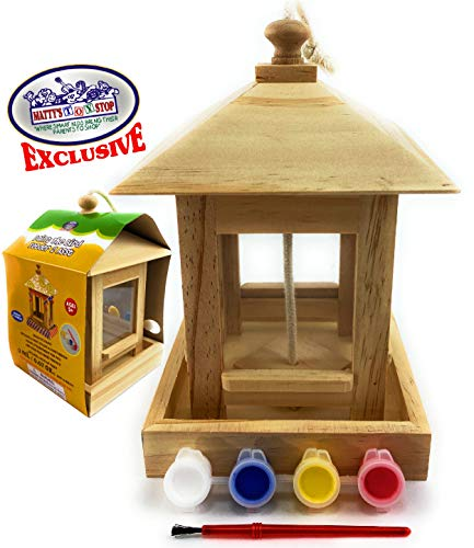 Mɑtty's Toy Stop Paint Your Own Deluxe Wooden Bird Feeders (Each Includes 4 Paints & 1 Brush ...