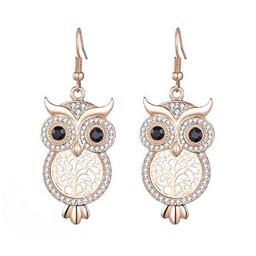 Dangle Earring for Women Lucky Owl Drop Earring for Girls Novelty Shining Rhinestone Earring Hoop Earring with CZ Crystal (Rose Gold)