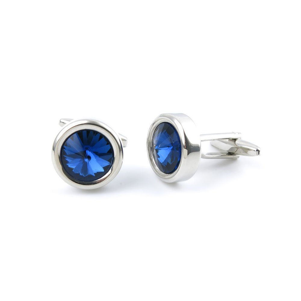 10 Pairs Men Boy Jewelry Cufflinks Cuff Links Party Favors Gift Wedding SU097 Blue Crystal Round