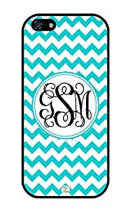 iZERCASE Monogram Personalized Turquoise Chevron Pattern with White Circle RUBBER iphone 5 / iPhone 5S case - Fits iphone 5, iPhone 5S T-Mobile, AT&T, Sprint, Verizon and International (Black)