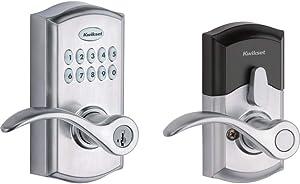 Kwikset SmartCode 955 Keypad Electronic Lever Door Lock Deadbolt Alternative with Pembroke Door Handle Lever Featuring SmartKey Security in Satin Chrome