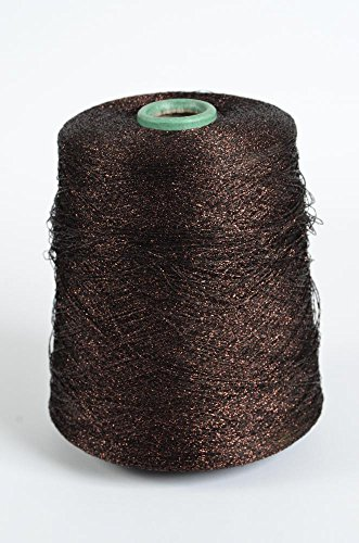 Merino Mohair Lace (Lurex, sparkle yarn, 1 ply, metallic yarn, strass, lace glitter yarn, brown pink, 7500 meters, per 100 gram cone)