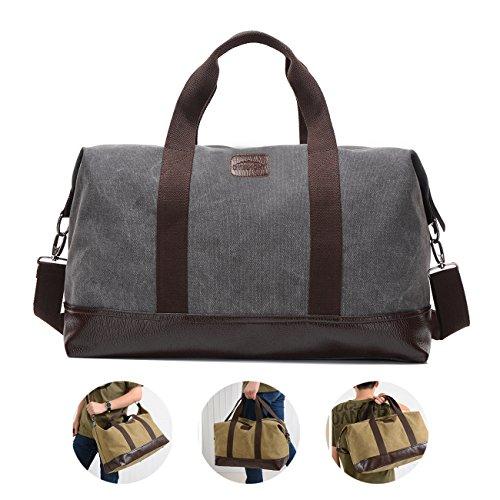 Overmont 36I Vintage Canvas Unisex Reisetasche Gym Tasche Weekender Tasche Handgepäck Sporttasche für Reise am Wochenend Urlaub Khaki/ Schwarz / Grau/ Militärgrün/ Braun Grau