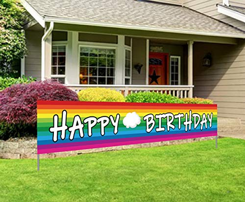 Large Colorful Birthday Banner, Yard Outdoor Bday Sign for Boy Girl, Spring Rainbow Theme Decoration