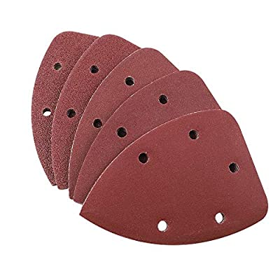 Coceca 100pcs Mouse Detail Sandpaper Sander Pads Sanding Sheets Assorted 20 Each of 40 80 120 180 240 Grits, 5 Holes, Hook and Loop, Velcro Backed