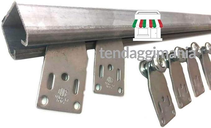 abris de jardin 100 CM diff/érentes tailles L Rail coulissant monorail en fer zingu/é MR3 avec glissi/ères pour toiles en PVC tissu
