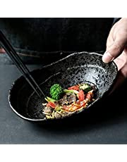 Cereal Bowl Set Bowls Japanese Style Ceramic Plate Oval Ramen Bowl Home Black Plate Restaurant Tableware Sushi Dish Stoneware Pasta Bowls