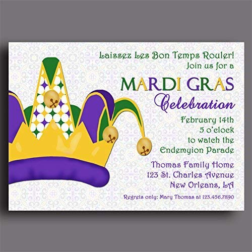 Image Unavailable. Image not available for. Color: Mardi Gras invitation - ANY Wording - Mardi Gras Party
