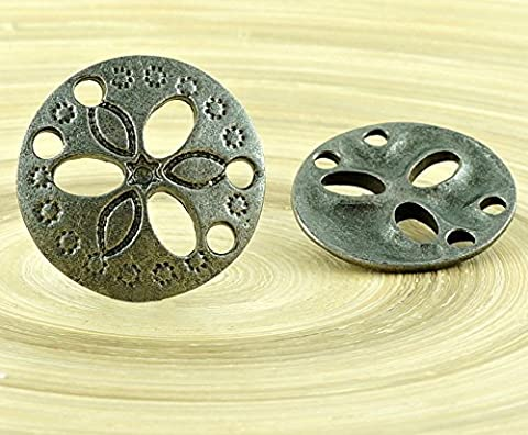 1pc Flower Czech Findings Matte Aged Antique Silver Round 2 Two Hole Connector Focal Handmade 19mm